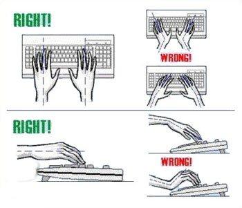 نحوه صحیح قرارگیری دستها روی صفحه کلید