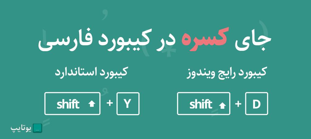 جای کسره در کیبورد فارسی