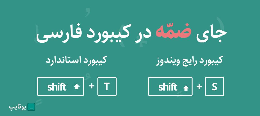 جای ضمه در کیبورد فارسی